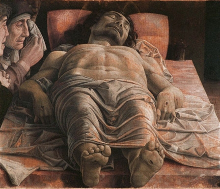 Cristo Scorto, The Dead Christ, Andrea Mantegna, Tempera on canvas, 68x81cm, 1490, Pinacoteca di Brera, Milan.
