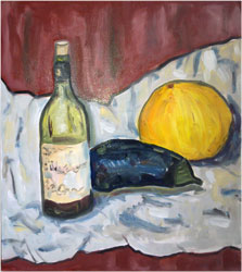 Oilpaint study in one session with bottle, aubergine and melon.