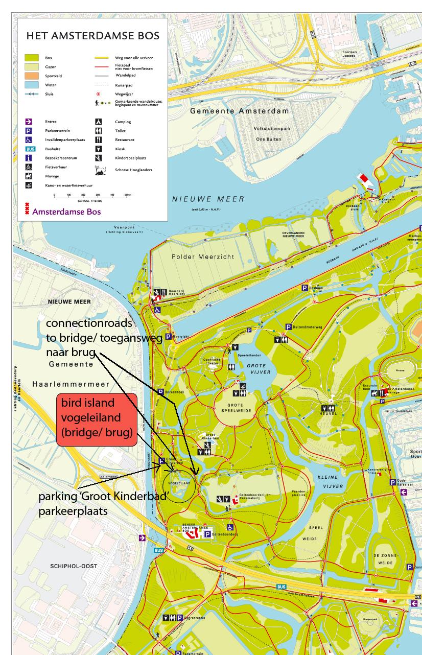 kaart van amsterdamse bos met vogeleiland landschap