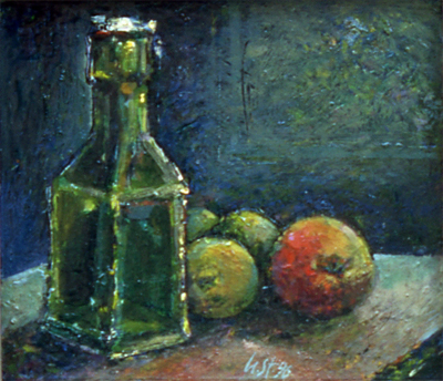 Still life with apples, oilpaint, 20 x 30 cm., 1996, Ulrich Städler