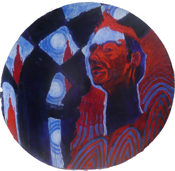 Selfportrait in red and blue, acrylics on cardboard, 120cm., 1996, Peter Eurlings. As an example for the courses and lessons in drawing and painting.