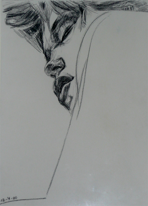 Portrait drawing by Peter Eurlings, size A4, year 2000, charcoal on paper.