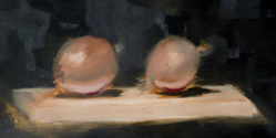 traditioneel stilleven studie met uien, olieverf/ traditional still live study with onions, oil paint