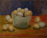 thuis atelier, traditioneel stilleven studie met eieren, olieverf/ home atelier, traditional still live study with eggs, oil paint
